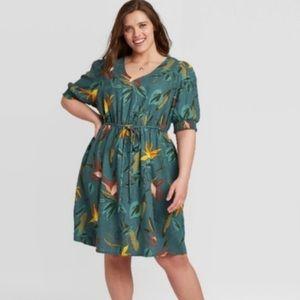 Plus size green tropical dress